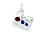 Sterling Silver Enameled Choo-choo Engine Charm style: QC3696
