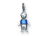 Sterling Silver Antiqued Enameled Marine Blue Boy Charm style: QC3703