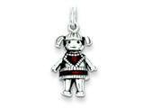 Sterling Silver Antiqued Enameled Red Girl Charm style: QC3704
