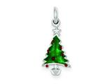Sterling Silver Enameled Christmas Tree Charm style: QC3781