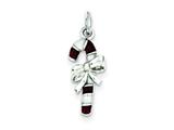 Sterling Silver Enameled Candy Cane Charm style: QC3794
