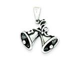 Sterling Silver Antique Bells Charm style: QC3796