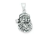 Sterling Silver Antiqued Santa Head Charm style: QC3810
