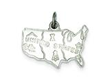 Sterling Silver United States Charm style: QC3834