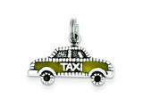 Sterling Silver Yellow Enameled Taxi Charm style: QC3865