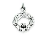 Sterling Silver Antiqued Claddagh Pendant - Chain Included style: QC3873