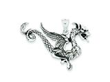 Sterling Silver Antiqued Dragon Charm style: QC3936