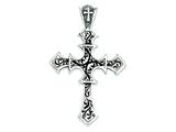 Sterling Silver Antiqued Passion Cross Pendant - Chain Included style: QC3940