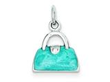 Sterling Silver Enameled Blue Purse Charm style: QC3961
