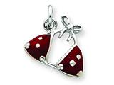 Sterling Silver Enameled Red Bikini Top Charm style: QC3982
