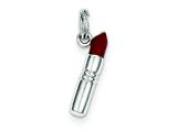 Sterling Silver Red Enameled Lipstick Charm style: QC3984