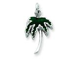 Sterling Silver Green Enameled Palm Tree Charm style: QC4012