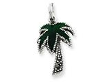 Sterling Silver Green Enameled Palm Tree Charm style: QC4014