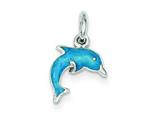 Sterling Silver Enameled Dolphin Charm style: QC4022