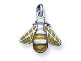 Sterling Silver Rhod Enameled Yellow Bee Charm style: QC4061