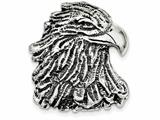 Sterling Silver Antiqued Eagle Head Pendant - Chain Included style: QC4083