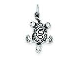 Sterling Silver Antiqued Turtle Charm style: QC4098