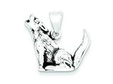 Sterling Silver Antiqued Wolf Charm style: QC4101
