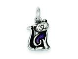 Sterling Silver Rhod Enameled Purple Cat Charm style: QC4117