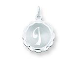 Sterling Silver Brocaded Initial I Charm style: QC4161I