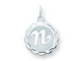Sterling Silver Brocaded Initial N Charm style: QC4161N