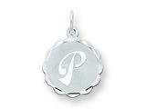 Sterling Silver Brocaded Initial P Charm style: QC4161P