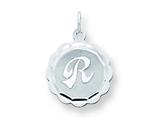 Sterling Silver Brocaded Initial R Charm style: QC4161R