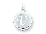 Sterling Silver Brocaded Initial V Charm style: QC4161V