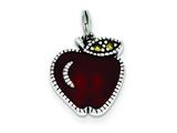 Sterling Silver Enameled Red Apple Charm style: QC4166