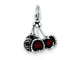 Sterling Silver Enameled Red Cherry Charm style: QC4175