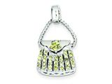 Sterling Silver Yellow Cubic Zirconia Purse Pendant - Chain Included style: QC4232