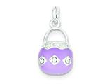 Sterling Silver Purple Enameled Purse Charm style: QC4239