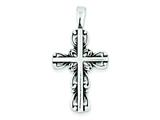 Sterling Silver Antiqued Cross Pendant - Chain Included style: QC4295
