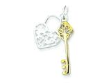 Sterling Silver and Vermeil Heart and Key Charm style: QC4599