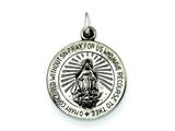 Sterling Silver Antiqued Miraculous Medal Pendant - Chain Included style: QC463
