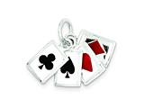 Sterling Silver Enameled Playing Cards Charm style: QC4733