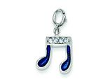 Sterling Silver Blue Enameled and Preciosa Crystal Charm style: QC4763