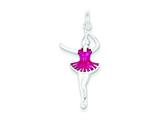 Sterling Silver Pink Enameled Ballerina Charm style: QC4774
