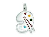 Sterling Silver Enameled Painting Palette Charm style: QC4781