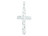 Sterling Silver Diamond -cut Cross Pendant - Chain Included style: QC480