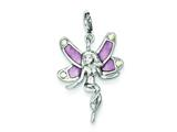 Sterling Silver Pink Preciosa Crystal and Enameled Fairy Charm style: QC4835