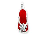 Sterling Silver Red Enameled And Cubic Zirconia Flip Flop Charm style: QC4849