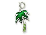 Sterling Silver Green Enameled Preciosa Crystal Palm Charm style: QC4858