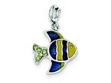 Sterling Silver Enameled And Preciosa Crystal Fish Charm style: QC4859
