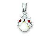 "Sterling Silver Cat""s Eye and Preciosa Crystal Lady Bug Pendant - Chain Included style: QC4886"