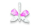 Sterling Silver Pink And Clear Cubic Zirconia Butterfly Pendant - Chain Included style: QC4991