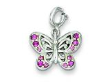 Sterling Silver Pink Cubic Zirconia Butterfly Charm style: QC4992