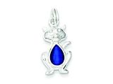 "Sterling Silver Dark Blue Cat""s Eye Cat Charm style: QC5028"