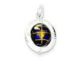 Sterling Silver Enameled Globe Charm style: QC5052
