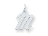 Sterling Silver Small Script Initial M Charm style: QC5080M